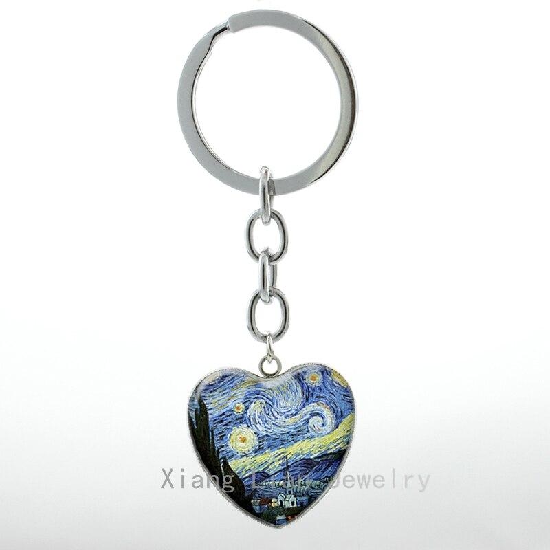 Известного художника Ван Гога работа картина Звездная ночь брелок Классический акварель искусства сердце подвеска брелок H66 H100(China)