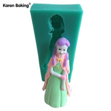 Charming Girl Cartoon Figure 3D Silicone Cake Mold Tools Design Fondant Cake Molds Tools Soap Mould Bakeware Tools C431