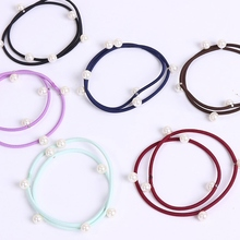 1PC Wholesale New Brand High Quality Hair Accessories For Women Girls Elastic Hair Bands Luxury Pearl Tie Ponytail Holder Ropes(China)