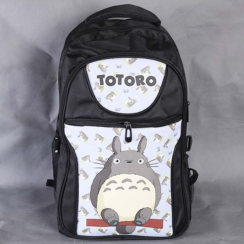 Anime My Neighbor Totoro Laptop Black Backpack/Double-Shoulder/School/Travel Bag for Teenagers or Animation Enthusiasts<br>