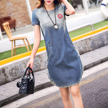 Women Washed White Casual Cotton Blue Jeans Shirt Dress Vestiods Vintage Badge Sexy Fringe Summer Dress 2017 Denim Dress(China)