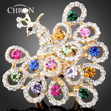 CHRAN Classic Animal Pattern Gold Color Costume Jewelry Rings Wholesale Crystal Elegant Peacock Engagement Rings For Women