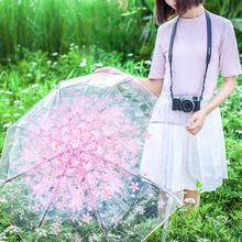 Fashion Cherry Blossom Girl Transparent Clear Rain Strong Wind Parasol Folding Umbrella Creative Compact