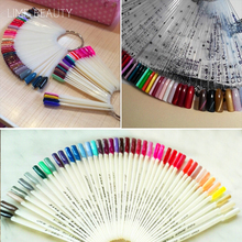 50PCS Fake Nails Display Nail Art Tips False Round Hoop Stick Practice Transparent Natural Fan for Polish UV Gel Showing Tool