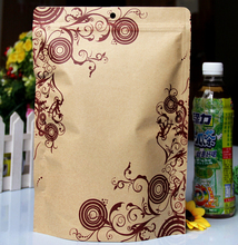 Stand Up Paper Aluminum Foil Zip Lock Package Bag Tea Snack Coffee Thick Retro Doypack Kraft Paper Pouches