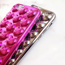 Buy Luxury 3D Plating Love Heart Phone Cases iphone 8 7 6 6s Plus Case Soft TPU Silicon Lover Back Cover Funda Lanyard Capa for $1.89 in AliExpress store