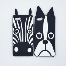 New 3D Cute Cartoon Animal Design Cover Love Dog Zebra Soft Silicone Phone Cases For iPhone 4 4S 5 5S SE 6 6S 7 7S & Plus