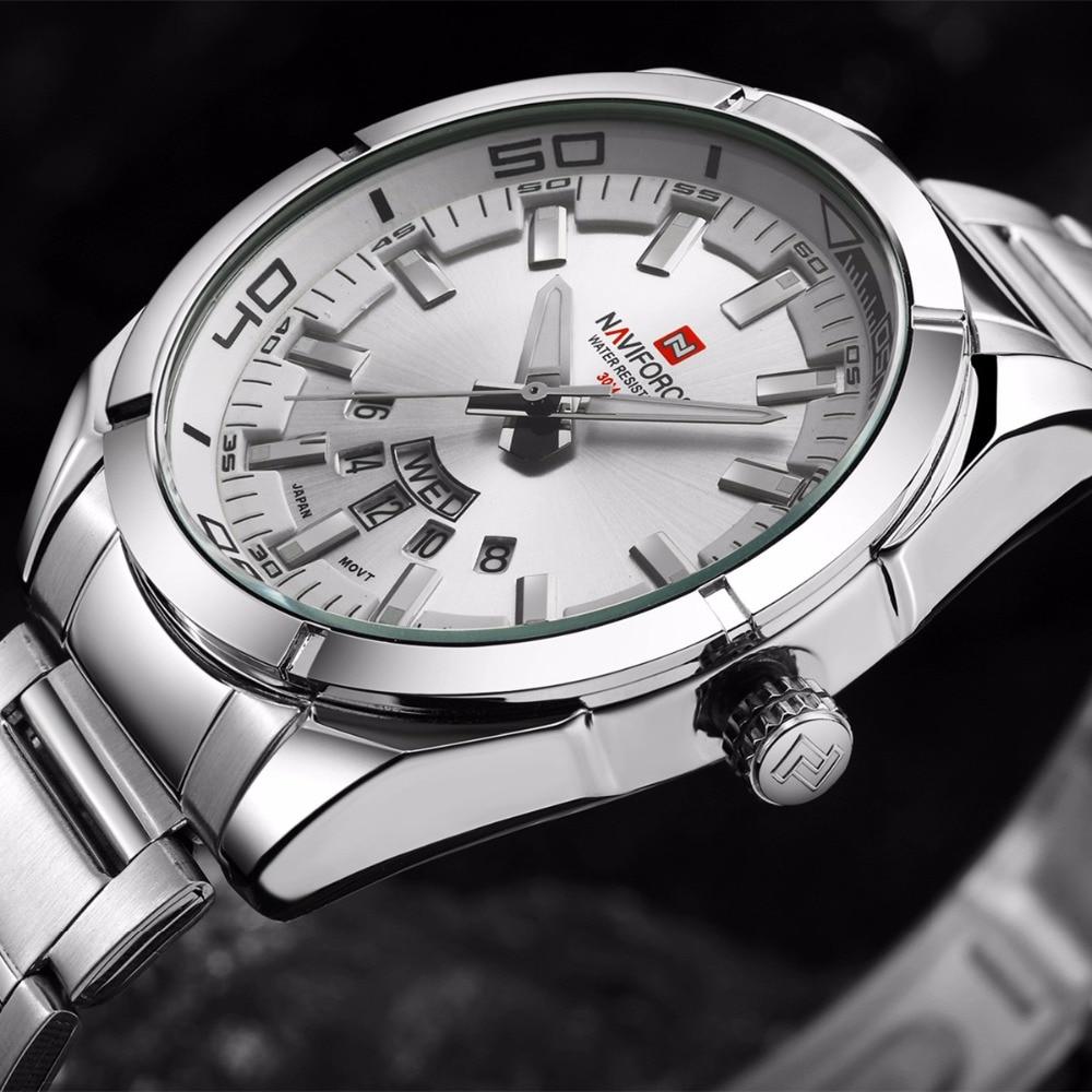 Naviforce Watch Mens Erkek Kol Saati Auto Date Clock relogio masculino Casual Sports Watch Men Stainless Steel Montre Homme<br>