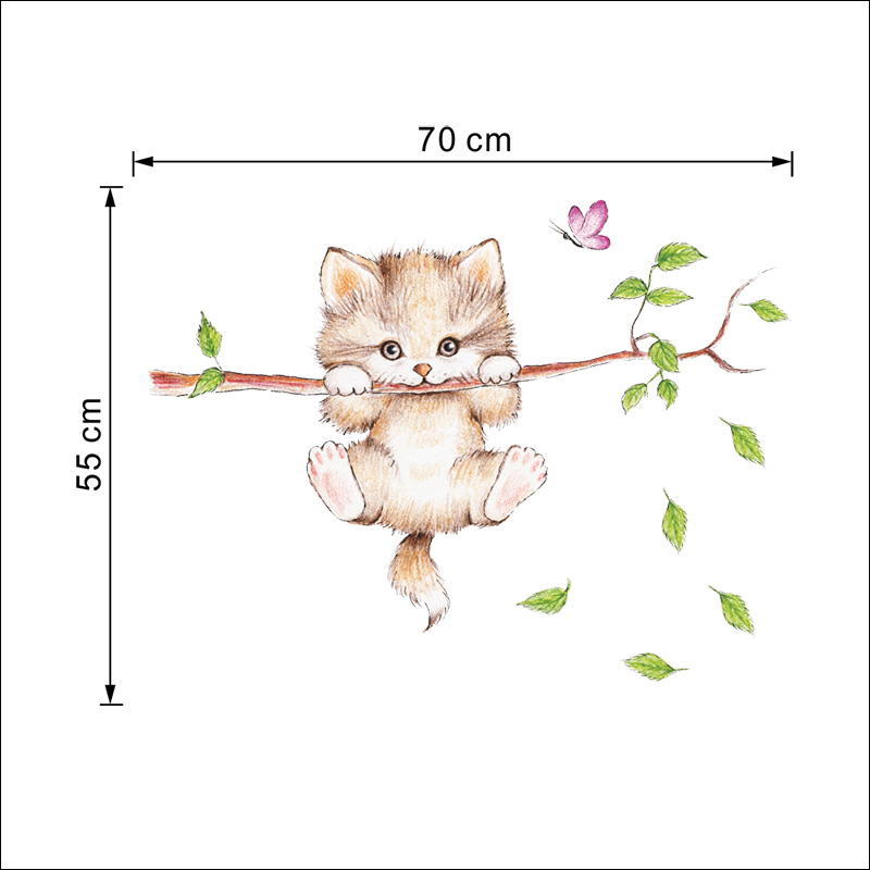Lovely Kitten On Tree Branch Wall Stickers Lovely Kitten On Tree Branch Wall Stickers HTB1FKAmXiQnBKNjSZFmq6AApVXax