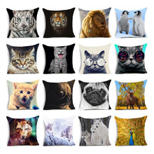 Tiger lion wolf dog pattern Cushions Feline and canine animal Pillows Invisible Zipper Polyester Square Throw Pillow