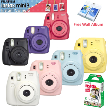 Fujifilm Fuji Instax Mini 8 Camera + 10PCS Fujifilm Instax Mini White Film for Mini 8 70 25 Camera White Pink Yellow Blue Black(Hong Kong)