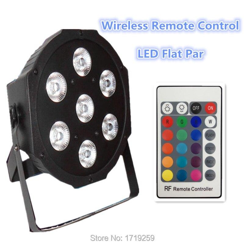 4pcs/lot Free shipping Wireless remote control  led Luxury DMX 7 Channels Led Flat Par Light 7x9W RGB 3IN1 DJ<br>