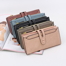 2018 Women PU Matte Leather Large Capacity Zipper Hasp Wallet Card Holder Organizer Girls Female Coin Purse With Snap Closure(China)