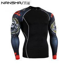 Advanced 3D Male Print Compression Shirt Slim Fit Skins Tight Long Sleeve Men's Bodybuilding Crossfit MMA Champion Shirt S-3XL