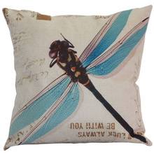 Nordic Blue green big dragonfly lovely insects wholesale wedding gift cushion cover car home office sofa decorative pillow case(China)