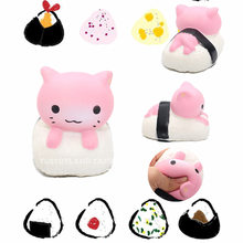 1PCS Kawaii Sushi Cat Squishy Japan Mochi Slow Rising Rabbit Bread Cake Phone Straps Cute Cartoon Doll Fun Kid Toy Gift