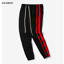 Aolamegs casual track pants men multi colored side stripe vintage jogger pants high street fashion sweatpants leisure trousers