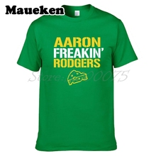 Men Men's Aaron Freakin' Rodgers #12 Green Bay T-Shirt Packers Short Sleeve 100% Cotton Fashion W0518031(China)