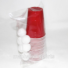 Free of shipping beer pong party pack accessories kit disposable plastic red cup game set 22cups with 6 balls