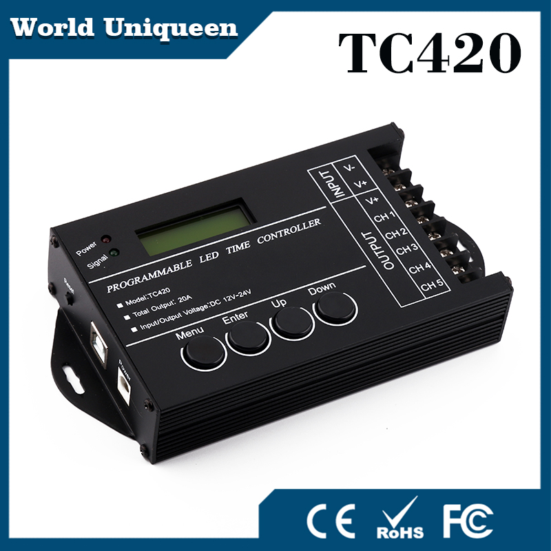 TC420 Time programable RGB LED Controller DC12V/24V 5Channel Total Output 20A Common Anode Programmable Dimmer control<br><br>Aliexpress