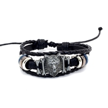 Vintage Wolf Bones Bracelet Handmade Woven Elegant Punk Leather Charm Bracelets Men Jewelry Party Gift Fashion Accessory
