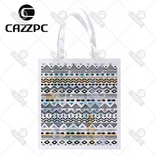 Black and White Ripple Aztec Tribal Ethnic Print Custom Non-Woven Fabric Reausble Grocery Shipping Storage bag Pack of 4()