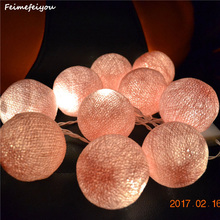 Feimefeiyou 1M 10 Pink Beige Fabric Cotton Ball String Fairy Thailand Lights Christmas Wedding Party Home Decoration