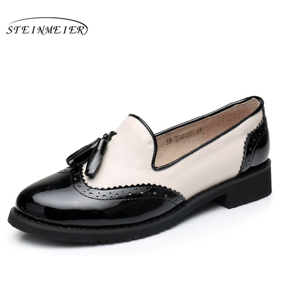 Genuine leather big woman US size 9 designer vintage shoes flat round toe handmade black beige red oxford shoes for women fur<br>