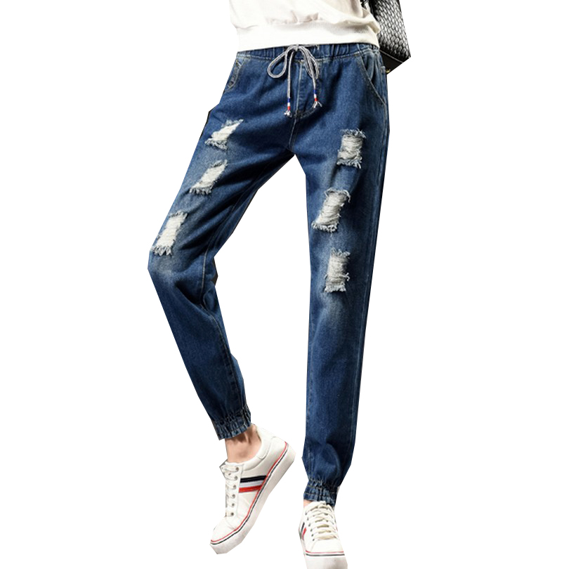 2017 New Drawstring Elastic Waist Jeans Washed Color Ripped Harem Pants Big Size S-5XL Pantalones Loose Denim Women TrousersОдежда и ак�е��уары<br><br><br>Aliexpress