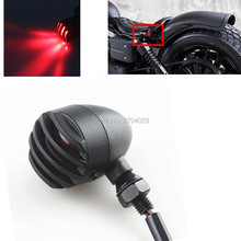 2Pcs Black Motorcycle Mini Bullet Grill Cover Turn Signal Light Red Blinker Fits For Harley and so on Custom