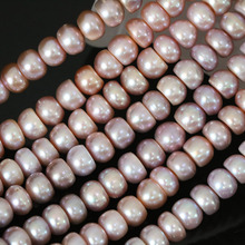 Fashion women natural freshwater cultured pearl purple 9-10mm button abacus rondelle loose beads jewelry making 15inch B1384