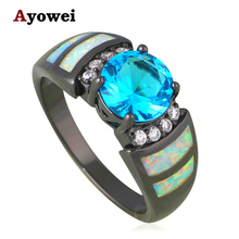 AAA Zircon Rings Wedding Accessories White Fire Opal Silver Stamped Blue Fashion Jewelry USA Size #6#7#8#9 OR823A - Jos fan's store