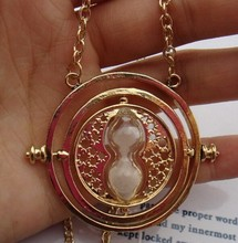 Gold Hourglass Time Turner Necklace Hermione Granger Rotating Spins
