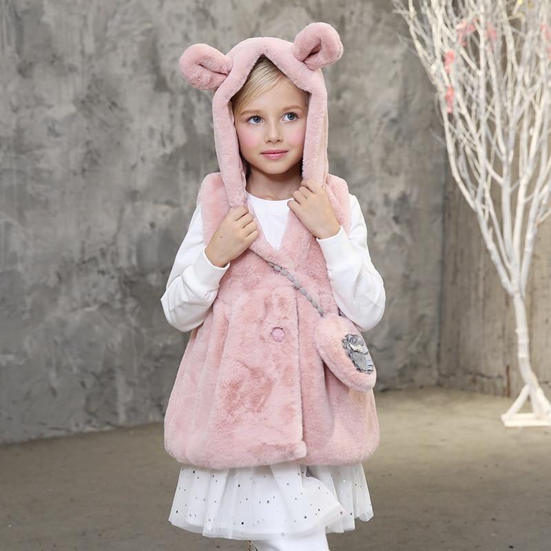 Girls Plush Vest New Pattern Candydoll Kid Winter Outerwear Cartoon Rabbit Ears Hooded Cute Bag Warm Breathable Girls Waistcoat<br><br>Aliexpress