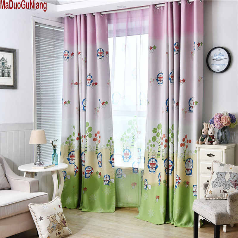Boys Doraemon Curtains and tulle blackout drapes Cloth Nursery Baby Room Curtains draperie French Blinds for Kids Bay window