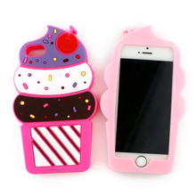 Cartoon Case For iPhone 5C 5 5S SE 4 4S New Design 3D Cute Cherry Cupcakes Ice Cream Shaped Soft Silicon Case Cover For iPhone5C