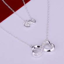 N147 Gem-set 8 Characters Necklace Factory Price silver necklace.fashion jewelry necklace
