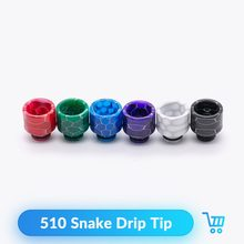Quartz Banger 510 Snake Drip Tip Epoxy Resin Wide Bore For Ijust S RTA RDA Tank E Cig Vaporizor Vape Accessories Mouthpiece(China)
