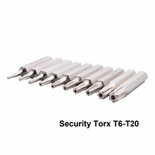 Flexsteel Good Quality 10pcs Cr-V Torx Bit Driver Set Including T3,T4,T5,T6,T7,T8,T9,T10,T15,T20(T6-T20 Security torx)