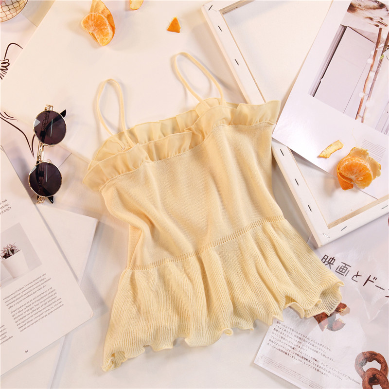 Women Fashion Knitting Patchwork Chiffon Ruffles Neck Cropped Tanks Tops Girls Knitted Tee shirts Camis crop Tops Female 13