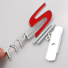 BBQ@FUKA 3D Metal White Red TYPE-S Emblem Car Front Grille Grill Badge Bolt fixed Car SUV Grille Fit For Honda Acura Car Styling(China)