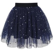 Girls Navy Blue Pearl Stars Sparkling Tutu Dancing 2018 Summer Princess Wedding Party Dresses Kids Clothes Size 4-12(China)