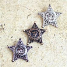 hot brooch with Safety Pin cowboy five-pointed star metal badge for Both men and Women