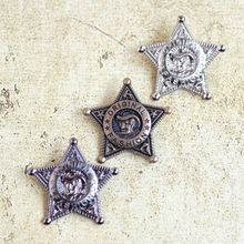 hot brooch with Safety Pin cowboy five-pointed star metal badge for Both men and Women(China)