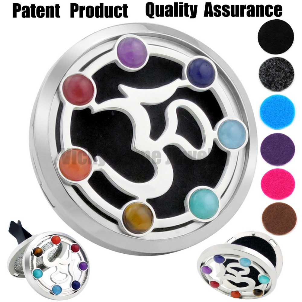 38mm OM Chakra Car Diffuser Locket Magnet 316 Stainless Steel Car Aroma Locket Free Pads Essential Oil Car Diffuser Lockets