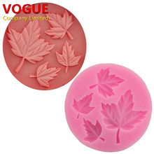 Nice Maple Leaf Silicone 3D Flower Mold Fondant Cake Decorating Tools Four Color Mould Silicone Soap Cooking Tools N1793(China)