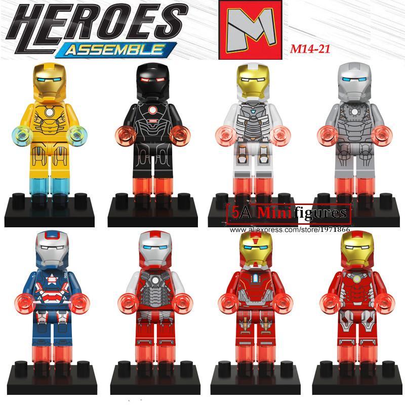 8Pcs  marvel Super hero Iron Man Patriot War Machine   building blocks model bricks kids baby classic toys<br><br>Aliexpress