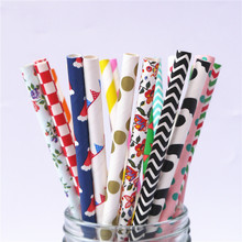 200pcs Free Shipping promotion colors Chevron Striped and Polka Dot Drinking Paper Straw Wholesale Colorful Paper Straws(China)