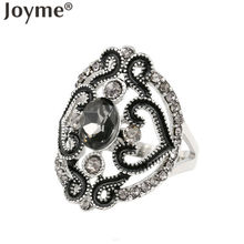 Statement Indian Jewelry Accessories Punk Vintage Tibetan Silver Rings For Women Cheap Black Hollow Out Flower Enamel Ring