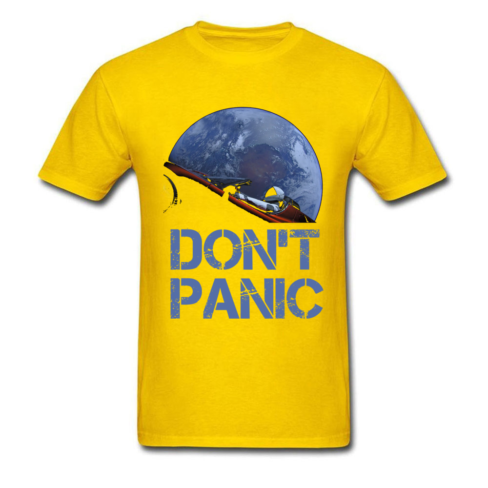 Dont Panic Starman O-Neck T Shirts Summer Tops Tees Short Sleeve New Coming All Cotton Gift Tops T Shirt Europe Men Dont Panic Starman yellow